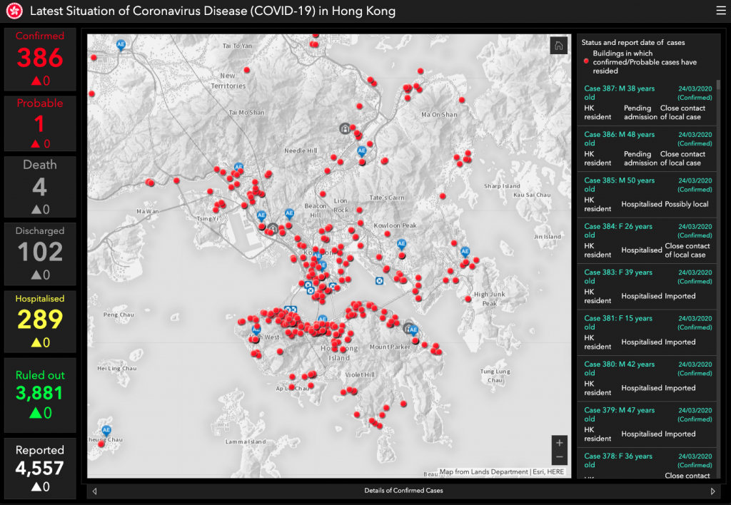 live map of covid-19 in Hong Kong